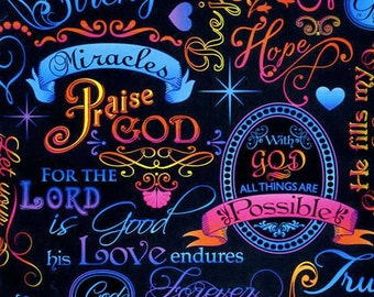 Brite Spiritual Words on Black Religious Fabric by Timeless Treasures