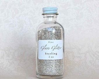 Silver GLASS GLITTER, Silver Fine Glitter, Sterling Silver Glitter, German Glass Glitter - Silver Glitter - Fine Silver Glitter