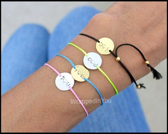 INITIAL Bracelet Anklet Choker  PERSONALIZED Hand Stamped Gold Silver I Love You Heart Letter ADJUSTABLE Dainty Cord Layer Charm Bracelet