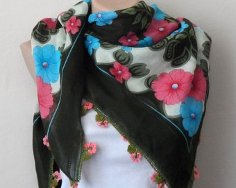 green scarf pink blue scarf floral print scarf womans scarves multicolor yemeni scarf handmade scarf trendy scarf gift for her