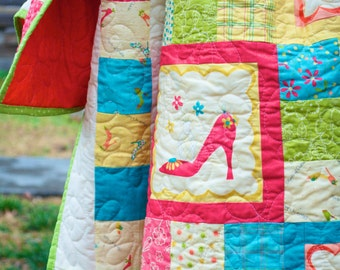 Patchwork Lap Quilt - Handmade - Stiletto, High Heel Shoes, Floral, Flowers, Leaves, Dots - Modern -  2 Throw Pillows Included