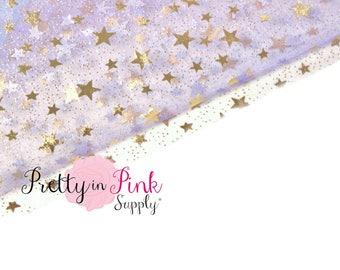 Lavender Gold Star Sheer Fabric- Fabric-Sheer Star- Fabric by the Yard-Organza Fabric