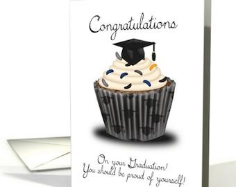 Graduation Congratulations card , Cupcake Graduation, Graduation Congratulations Card, Greeting Card Graduation