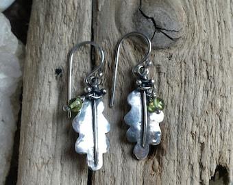Sterling Silver Oak Leaf Earrings with Peridot Beads