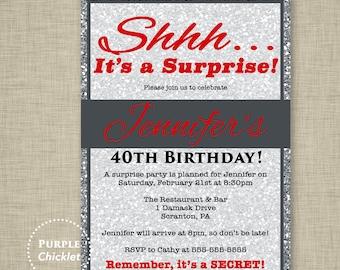 Red 30th 40th 50th Birthday Invitation Silver Glitter Invite Surprise Party Invite Cocktail Dinner Party Invitation Adult Party Invite 238