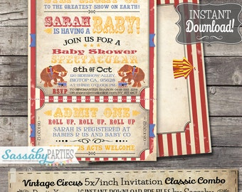 Vintage Circus Baby Shower Invitation - INSTANT DOWNLOAD - Classic Combo Editable & Printable Invite by Sassaby
