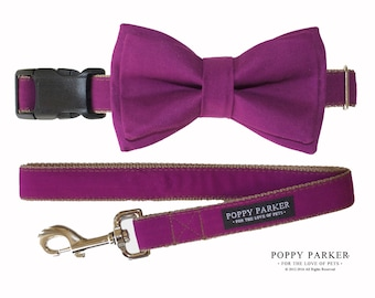 Layered Dog Bow Tie - Berry Bright Purple - Optional Matching Collar and Leash - Raspberry