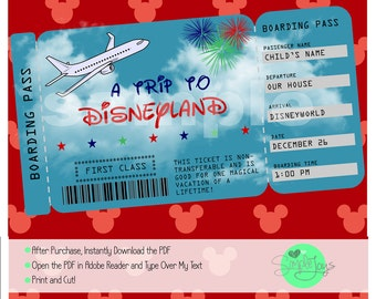 Printable Ticket To Disney (Disneyworld/Disneyland) Boarding Pass,  Customizable Template, Digital