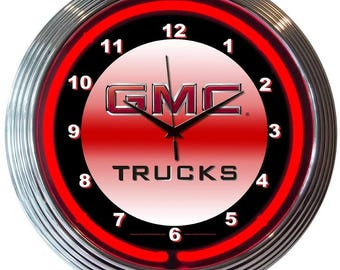 "Antique Style "" GMC Trucks "" Neon Clock"