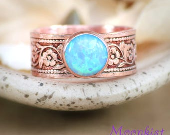 Blue Opal Promise Ring - Copper Ring - Boho Ring - Copper Opal Ring - Blue Opal Ring - Copper Promise Ring - Size 7.5 Ring, RTS