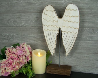 Wooden Angel Wings Decor Guardian Angel Gift Angel Decor Angel Nursery Decor  Baby Angel Statue Angel