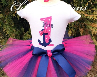 Anchor Birthday Outfit - Hot Pink and Navy Birthday - Baby Girls 1st birthday outfit