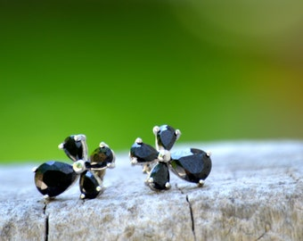 Vintage Black Stone Small Cross Style Earrings. Faceted Stone Silver Plate
