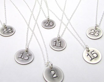 Lucky Number Necklace | Sterling Silver Charm | Antiqued Vintage Style Hand Stamped Jewelry by E. Ria Designs