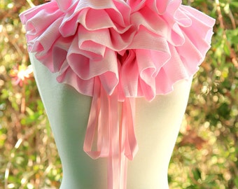 Pastel Pink Ruffle Scarf  - Victorian Fashion Collar in Cotton Gauze