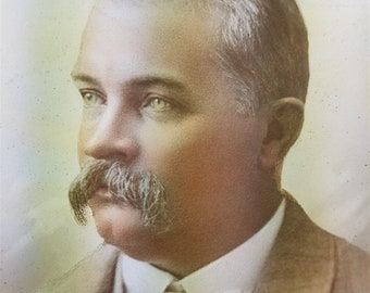 Antique Sepia Photograph Portrait of Handsome Man with Moustache Victorian or Edwardian Large Oval 8 x 6