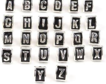 European Letter Beads, European Alphabet Charm Beads, Fits European Charm Bracelets, Triangle Letter European Charms, Large Hole Beads
