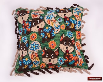 "Alpaca pillow covers 18x18"", Decorative throw pillowcase, Animal Fox Pillow, Peruvian Accent pillow, Embroidered Green pillow, Peru Textiles"