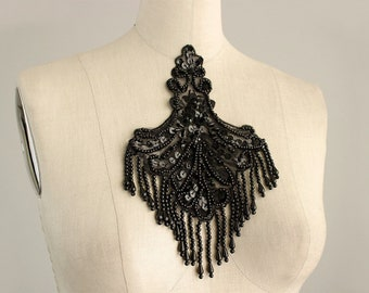 Black Beaded And Sequin Fringe Applique / Available in Black, White, Blue & Pink / Vintage Flapper Style / Bridal / Costume Design