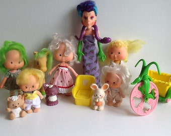 Vintage Strawberry Shortcake Dolls & Accessories Play Lot (Not Collector Quality)