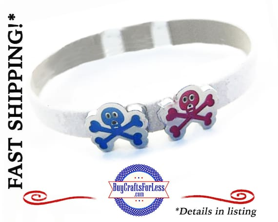 PiRATE Skull and Cross Bones 8mm SLiDER CHARM - A  FAVORiTE! +FREE SHIPPING & Discounts*