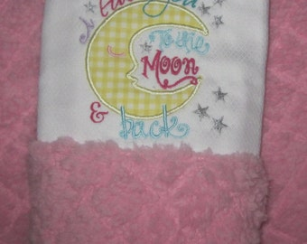 Baby, Burp Cloth, I love you to the moon and back applique, Baby Girl, Custom made
