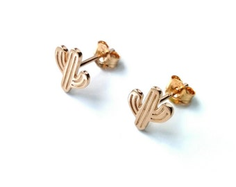Cactus, gold 750/000 - Gold, gold cactus studs - 750 gold plated, gold cactus earrings cactus earrings