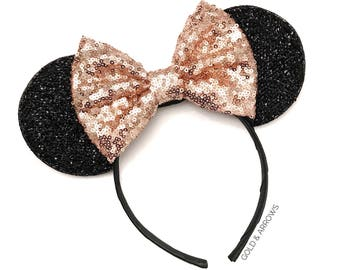 Rose Gold Mickey Minnie Mouse Ears - Mickey Mouse Rose Gold Ears - Sparkly Rose Gold Mickey Ears Headband - Disney Rose Gold Mickey Ears