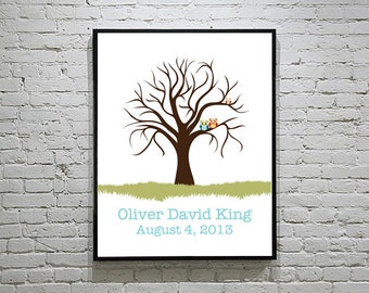 Baby Shower Owl Family Thumbprint Tree Guest Book Alternative | Wedding Owl Family Thumbprint Tree Guest Book Alternative