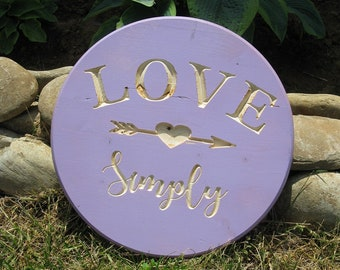 Love Simply -  Routed Wood Disk 3D Wall Decor - Color Options DSK14