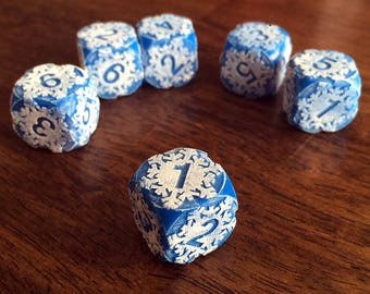 Engraved Frosted Snowflake Dice - Opaque Version - for Tabletop Gaming