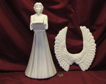 Ceramic Bisque U-Paint Angel with Scroll Unpainted Ready To Paint DIY Scioto Musical Instrument