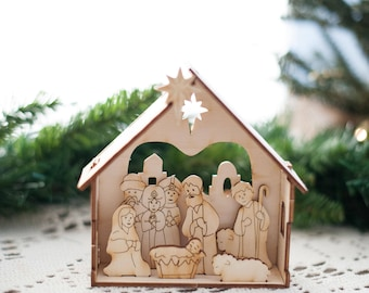 DIY Nativity Kit - Small Christmas Nativity Set for kids - by urban forest woodworking
