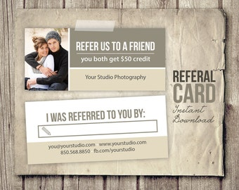 Photography Referral Card Template - Rep Card Referral Template - Photographer Refer Card 2 Sided - Photo PSD Template - INSTANT DOWNLOAD