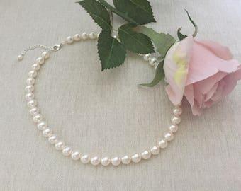 Swarovski pearls necklace, pearl necklace, flowergirl necklace, bridesmaid necklace, wedding jewelry, wedding necklace