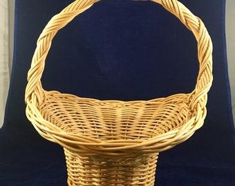 Vintage Large Easter Basket, unique hand-woven basket, Floral container