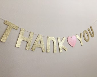 Thank You Banner, Gold Thank You banner, glitter thank you banner, Thank you sign, gold glitter thank you banner