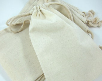 5 Large Cotton Muslin Bags Pouches (5 by 8 inch) for Jewelry, Gift Bags, Wedding Favors