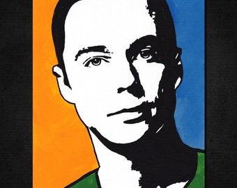 "SHELDON COOPER, New ORIGINAL Acrylic Pop Art Painting 6"" x 8"" Canvas Paper. Actor Jim Parsons, The Big Bang Theory. Hand-painted artwork. Tv"