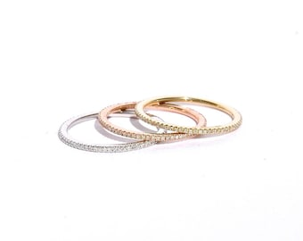 18k Gold Micro Pave Diamond Eternity Stacking Band/ Ring S.6