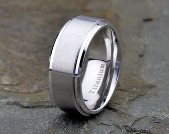 Titanium Band, Brushed,Polished stepped edge, 9mm width, Mens Wedding Bans, Anniversary Rings, Gift Rings