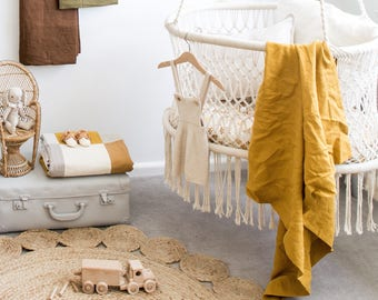 The Simple Linen Baby Wrap- MUSTARD