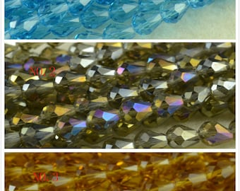 Sale---15 inch strand of Crystal Glass faceted teardrop beads 6x8mm