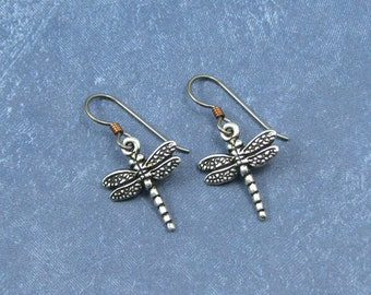 Silver Dragonfly Earrings on Hypoallergenic Ear Wires, Dragonfly Jewelry, Gift for Her