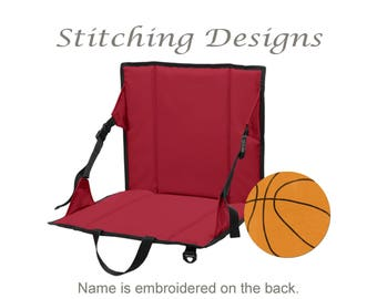Personalized stadium seat, Stadium chair, Bleacher seat, monogrammed, BLACK OR RED  - Monogram on back
