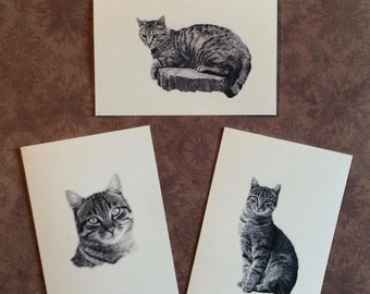 Set of 6 or 12 Handmade Blank Tabby Cat Print Note Cards