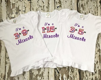 MOD Girls Miracle Shirt - Custom Embroidered Tshirt - March Of Dimes Shirt or Bodysuit - Personalized Weight Shirt