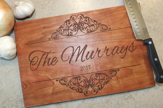 Personalized Cutting Board with Engraved Names and Wedding Date in White Oak, Maple, Walnut and Cherry Wood