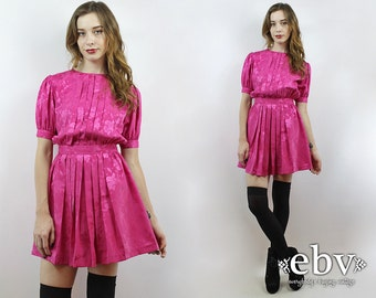 Hot Pink Dress Vintage 80s Hot Pink Puff Sleeve Mini Dress XS Babydoll Dress Dolly Dress Secretary Dress Puff Sleeve Dress 80s Dress 1980s