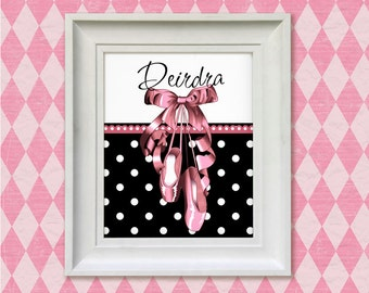 Nursery Art Print - Ballet Slippers in Black 8x10 Personalized Ballerina Baby Room Decor